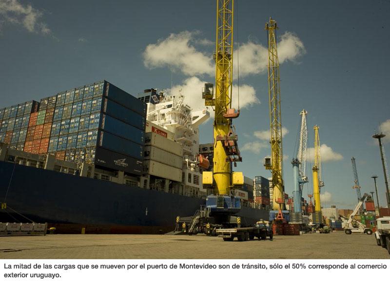 La mitad de las cargas que se mueven por el puerto de Montevideo son de tránsito, sólo el 50% corresponde al comercio exterior uruguayo.
