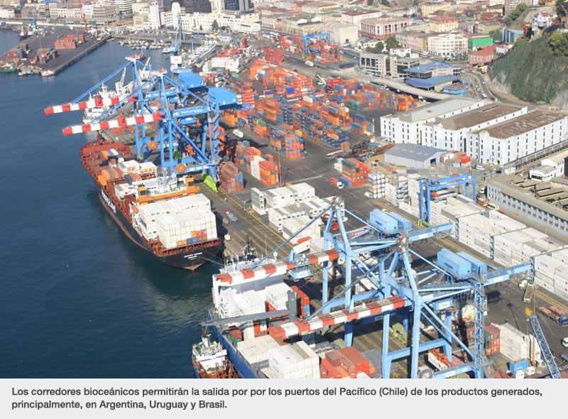 Los corredores bioceánicos permitirán la salida por por los puertos del Pacífico (Chile) de los productos generados, principalmente, en Argentina, Uruguay y Brasil.