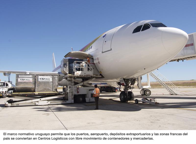 El marco normativo uruguayo permite que los puertos, aeropuerto, depósitos extraportuarios y las zonas francas del país se conviertan en Centros Logísticos con libre movimiento de contenedores y mercaderías.