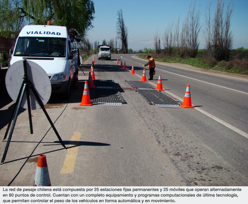 La red de pesaje chilena está compuesta por 25 estaciones fijas permanentes y 25 móviles que operan alternadamente en 80 puntos de control. Cuentan con un completo equipamiento y programas computacionales de última tecnología, que permiten controlar el peso de los vehículos en forma automática y en movimiento.