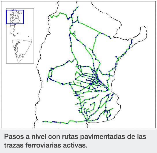 Pasos a nivel con rutas pavimentadas de las trazas ferroviarias activas.